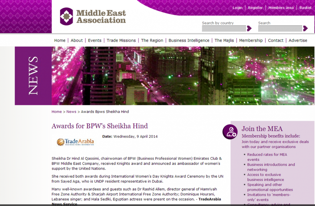 Awards for BPW's Sheikha Hind - Middle East Association