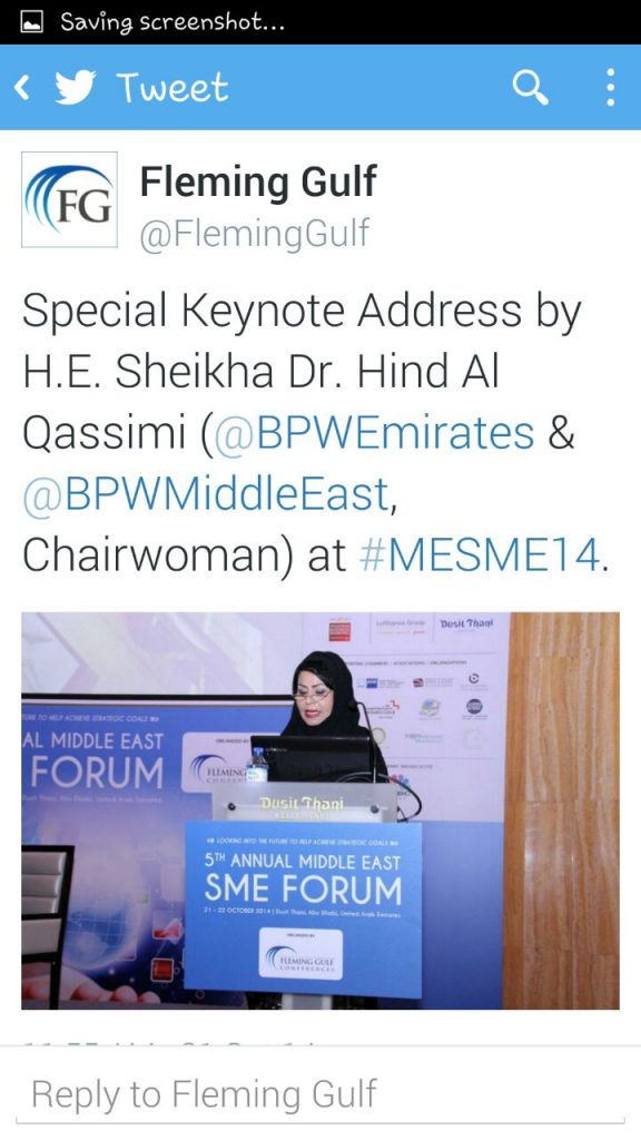 5th Annual Middle East SME Forum 21 oct 2014 on twitter