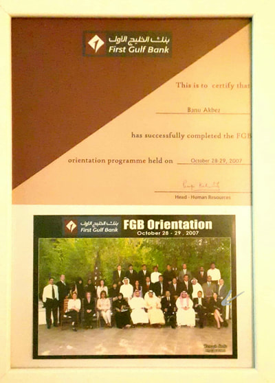 Banu Akbez\\'s certification from First Gulf Bank, UAE
